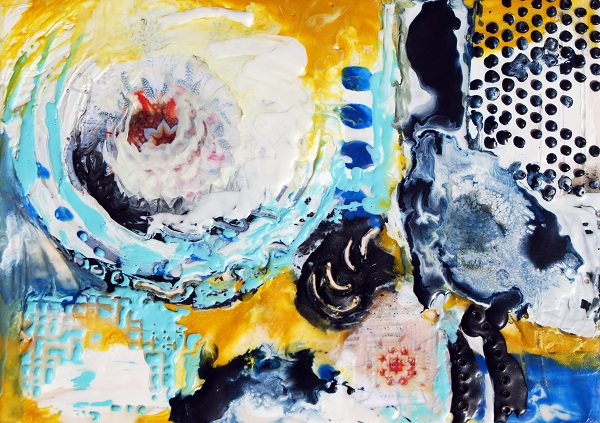 Jeanette Jarville, Melt with Me, encaustic abstract painting