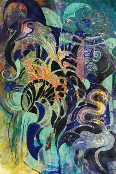 Jeanette Jarville, acrylic on paper, Snakes and Ladders,